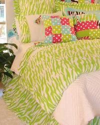 Outrageous Lime Green Zebra Bedding for Girls and Teens