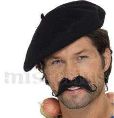 New Mens Black French Man Beret Headpiece Hat Fancy Dress Accessory Uk French Fancy Dress, Fancy Dress Hats, Fancy Dress Accessories, Kids Hats, Hats For Men, Mens Beret, French Man, Halloween Costume Accessories, Costumes