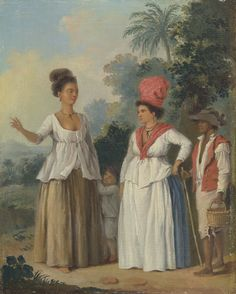 Agostino Brunias, 1728-1796, Italian, active in Britain (1758-1770; 1777-1780s), West Indian Women of Color, with a Child and Black Servant, ca. 1780, Oil on canvas, Yale Center for British Art, Paul Mellon Collection