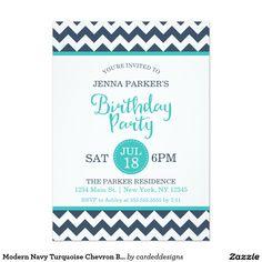 Modern Navy Turquoise Chevron Birthday Party 5x7 Paper Invitation Card