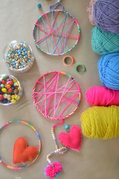 dream catchers in progress :: made by 5-7yr olds in art camp