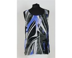 Lovely blue, black and white print sleeveless camisole. Wear with matching jacket for the perfect look. Sizes 20-24 available at www.middletonwood.co.uk
