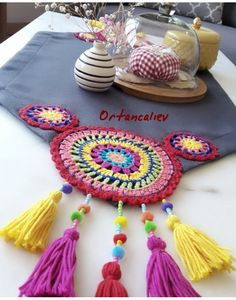 🌟Tante S!fr@ loves this📌🌟 Crochet Doily Rug, Crochet Towel, Crochet Fabric, Love Crochet, Diy Crochet, Crochet Crafts, Crochet Projects, Crochet Patterns, Crochet Decoration