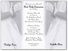 Confirmation Or First Communion Invitations Praying Girl With