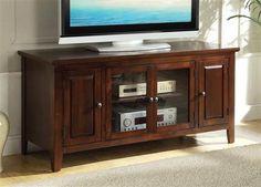 Christella Chocolate Wood Glass Tv Stand