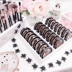 Halloween is almost here! 20 off you entire order! IKEA Alex Drawer Organizers and Brush Holders! The Cosmetic Archive. Makeup Dupes, Makeup Cosmetics, Makeup Brushes, Makeup Storage, Makeup Organization, Alex Drawer Organization, Ikea Alex Drawers, Square Halo Engagement Rings, Types Of Makeup