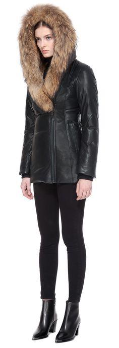 Faux Daim Motard Détail Manteau avec col en fourrure /& Bordure en Noir Avec Naturel Fourrure
