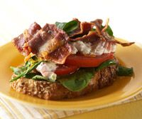 Bacon Tomato Melts Recipe - This amped-up version of a traditional BLT offers plenty of vitamin A, vitamin C, and calcium. Enjoy loads of cheese on this open-face melt while keeping it diabetes-friendly.