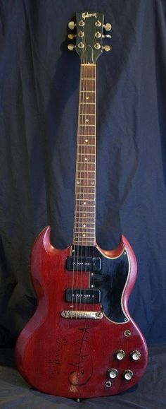 """Carlos Santana was the first artist to use this kind of """"Devil Guitar"""" in the late through the historical concert of Woodstock and then signed and given to Hard Rock cafe in Sg Guitar, Music Guitar, Guitar Amp, Cool Guitar, Playing Guitar, Acoustic Guitar, Guitar Cable, Gibson Sg, Gibson Les Paul"""