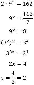 resolvemos la ecuación exponencial 2·9^x = 162: x = 2