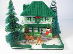 Plastic Canvas For Sale | SALE Vintage Christmas House - Plastic Canvas Needlework Christmas ...