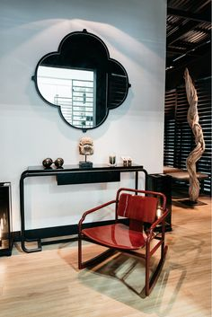 AKAR DE NISSIM's Lifestyle on the booth at MAISON&OBJET ASIA 2016 - Console DUKE - Rocking Chair MARCEAU - Mirror NARCISSE - Floor Lamp SONG and Home Accessories