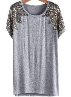 Grey Short Sleeve Sequined Modal T-Shirt EUR13.82 http://www.sheinside.com... #friki #hipster #camiseta #camisetaes