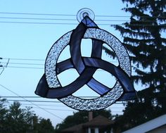 Blue Celtic Knot Circle Stained Glass Suncatcher by smashingglass, $35.00