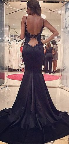 Sexy Backless Prom Dresses, Black Lace and Satin Prom Dress, Mermaid Prom Dress, Spaghtte Strap Pom Gowns, Prom Party Dresses