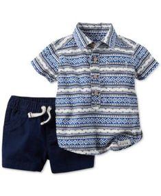 Carter's Baby Boys' 2-Pc. Mixed-Print Shirt & Shorts Set | macys.com