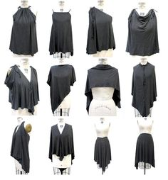 Unique Black Gray Convertible Clothing,Gray Black Striped Jersey Top, Womens Infinity Top, Multi-Style Convertible Jersey Blouse and Skirt, Halter Convertible Clothing, Convertible Dress, Diy Fashion, Fashion Outfits, Infinity Dress, Striped Jersey, Blouse And Skirt, Clothing Hacks, Clothing Patterns