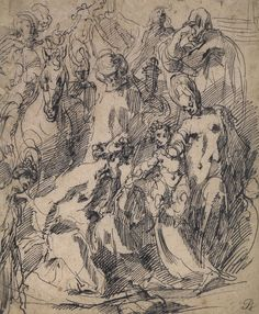 Pen and ink drawing, Adoration of the Magi by Jacques Bellange, 1610.