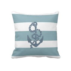 Nautical Stripes Anchor Pillow