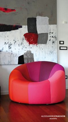 Living in AF House in Catania Design arch. Ligne Roset, Catania, Sofa Furniture, Bean Bag Chair, Armchair, Pumpkin, Interior Design, Tangled, Projects
