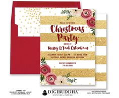CHRISTMAS PARTY INVITATION Gold Glitter Striped Holiday Party Christmas Dinner Invites Card Red Flowers Ready Made or DiY Printable - Krissy style. Red envelopes and matching envelope liners also available. Only at digibuddha.com