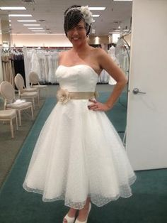 Dotted Organza Tea Length Gown Is Ideal For Any Wedding Event A