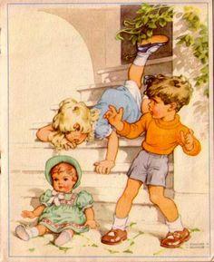 Sei so brav mein liebes Kind, wie die Schildkroet Puppen sind 50er…
