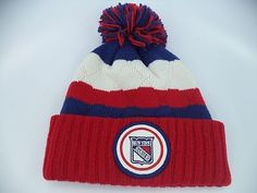 e4a2438cdf0 NHL New York Rangers Cuffed Knit Beanie Bobble Ice Hockey Cap Hat