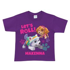 Paw Patrol Let's Roll Purple T-Shirt | Ty's Toy Box