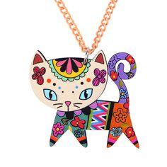 Gato largo collar de cadena de acrílico bonsny colgante 2015 joyería de moda para mujer primavera lindo animal charm accesorios collar