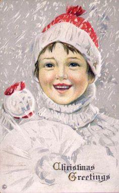 Divided Back Postcard Christmas Greetings Children Vintage Christmas Images, Old Christmas, Old Fashioned Christmas, Victorian Christmas, Christmas Pictures, Christmas Greetings, Christmas Postcards, Christmas Things, Vintage Images