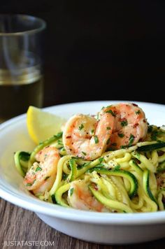 Skinny Shrimp Scampi with Zucchini Noodles Recipe- The wine must stay. So the great news is, you'll have your wine, and when all is said and done, you'll have spent just 30 minutes on this recipe for Skinny Shrimp Scampi with Zucchini Noodles. Zucchini Noodle Recipes, Fish Recipes, Seafood Recipes, Dinner Recipes, Dinner Ideas, Ramen Recipes, Cocktail Recipes, Salad Recipes, Healthy Cooking