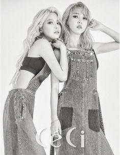 B&W Solar & Moonbyul - a recent spread in CECi magazine of Mamamoo. Kpop Girl Groups, Korean Girl Groups, Kpop Girls, K Pop, Divas, Mamamoo Moonbyul, Solar Mamamoo, K Idols, South Korean Girls