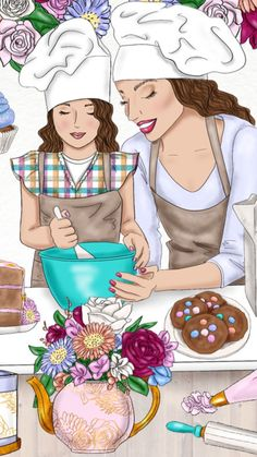 Cooking with Mom ❤️ Mother Daughter Art, Mother Art, Mother And Child, Girly M, Sarra Art, Bff Drawings, Cute Anime Couples, Mothers Love, Cute Illustration