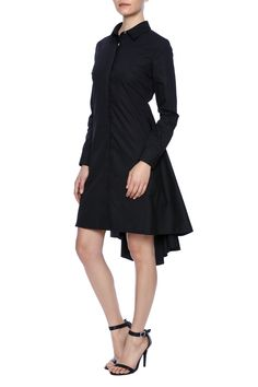 Classic shirt dress with updated features. High low hem. Back cut out.  Cotton Cutout Dress by Charles Youssef. Clothing - Dresses - Long Sleeve Clothing - Dresses - Knee Florida