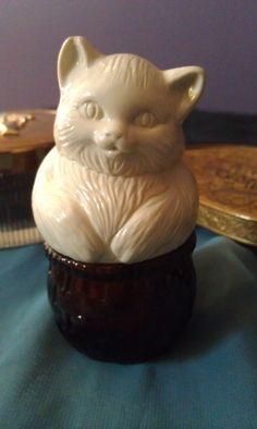 Vintage Kitty in a Basket Avon Perfume Bottle