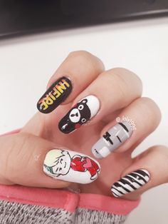 Cute and Best Nail Art Designs Ideas Trendy Nail Art, Cute Nail Art, Beautiful Nail Art, Nail Art Hacks, Gel Nail Art, Acrylic Nails, Nail Nail, K Pop Nails, Hair And Nails