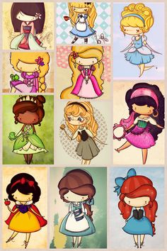 Cute drawings of the Disney princesses