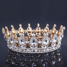 Quality Vintage Baroque Queen King Bride Tiara Crown For Women Headdress Prom Bridal Wedding Tiaras and Crowns Hair Jewelry Accessories with free worldwide shipping on AliExpress Mobile Gold Wedding Crowns, Wedding Tiaras, Gold Headpiece, Headpiece Wedding, Wedding Hair, Bridal Hair, Wedding Jewelry, Crown For Women, Accesorios Casual