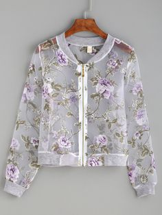 Stay fresh in ROMWE's latest collection of new season jackets for women to combat chill. Choose from classic denim jackets, cool moto jackets and cozy fleece jackets. Floral Bomber Jacket, Printed Bomber Jacket, Bomber Jackets, Print Jacket, Kurta Designs, Blouse Designs, Moda Emo, Casual Outfits, Fashion Outfits