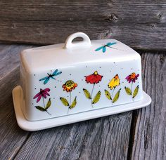 Butter Dish Porcelain Flowers, Dragonfly, Hand Painted By Artist Isabelle  Malo