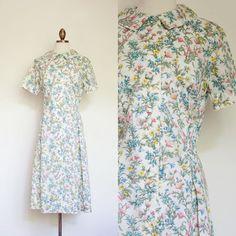 vintage 1960s floral shirtwaist dress / early 60s McGlen white