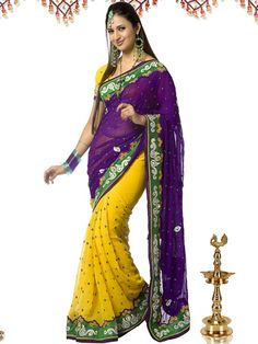 This chiffon half-half embroidery saree is beautiful in itself. The combination of yellow and purple color will make any woman look beautiful. The contrasting border of this designer wear is made of raw silk. The green color small resham boondein and diamond work all over this designer saree adds a glam to it. (slight variation in color is possible)