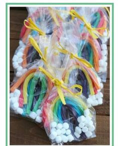 and Easy Rainbow Treats for Kids Rainbow treat bags for children-- so perfect for parties, St Patrick's Day, sports and more!Rainbow treat bags for children-- so perfect for parties, St Patrick's Day, sports and more! Trolls Birthday Party, Troll Party, Rainbow Birthday Party, Rainbow Theme, Unicorn Birthday Parties, Rainbow Parties, Kids Rainbow, 5th Birthday, Birthday Ideas