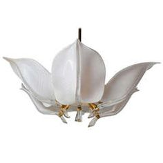MidCentury Murano Glass and Chrome Calla Lily Chandelier Murano