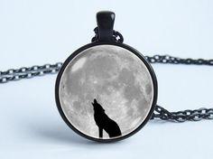 Gris Luna collar lobo collar lobo joyería lobo colgante luna