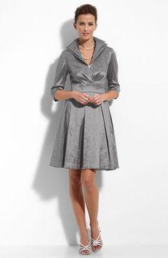 Donna Ricco Rhinestone Button Taffeta Shirtdress