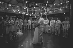 Simple string lights transformed this rustic setting into a romantic wedding venue.