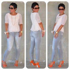 Todays Look:  Forever 21 Swiss Dot Peplum + Zara Basic Stretch Jeans @ Www.mimigstyle.com#zara #forever21 #katespade