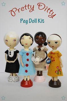 Doll Pins - Clothespin doll, pin doll, peg doll supplies. $4.00, via Etsy.